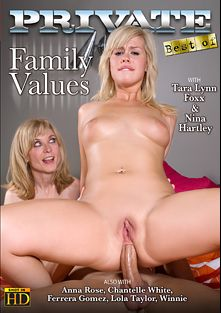 Family Values, starring Tara Lynn Foxx, Nina Hartley, Lola Taylor, Chantelle White, Ferrera Gomez, Anna Rose, Winnie, Leny Evil, Steve Q. and Franco Roccaforte, produced by Private Media.