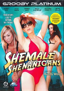 Shemale Shenanigans, starring Kylie Maria, Aubrey Kate, Victoria Ferretti, Danika Haze, Mona Wales, Kelly Klaymour and Christian XXX, produced by Third World Media and Grooby Productions.