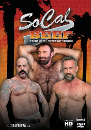Real Men 36: So Cal Beef, starring Scotty Rage, Brad Kalvo, Josh Thomas, Peter Rough, Victor West and Derek Parker, produced by Pantheon Productions.