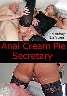 Anal Cream Pie Secretary, starring Liz Vixen and Carl Hubay, produced by Hot Clits Video.