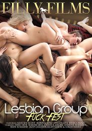 "Just Added presents the adult entertainment movie ""Lesbian Group Fuck Fest""."