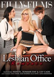 """Just Added presents the adult entertainment movie """"Lesbian Office Romance""""."""
