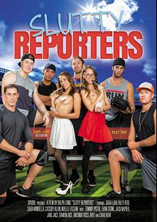Slutty Reporters, starring Cassidy Klein, Noelle Easton, Sara Luvv, Riley Reid, Sarah Vandella, Chad Alva, Tommy Pistol, Antonio Ross, Jake Taylor, Jack Napier and Evan Stone, produced by Spizoo.