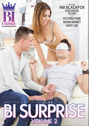 Bi Surprise 2, starring Ani Black Fox, Dom Ully, Naomi Bennet, Don Diego, Daisy Lee, Amy Pink and Zack Hood, produced by Bi Empire and Mile High Media.