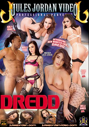 Dredd, starring Marley Brinx, Abella Danger, Keisha Grey, Ashley Adams and Dredd, produced by Jules Jordan Video.