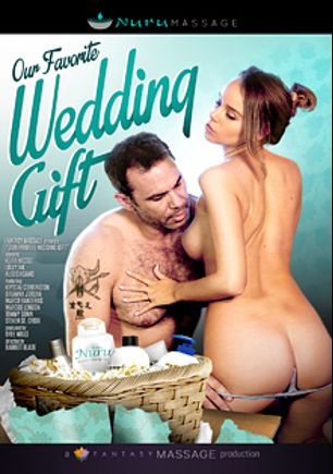 Our Favorite Wedding Gift, starring Keira Nicole, Krystal Carrington, Alexis Adams, Lolly Ink, Brianna Jordan, Marcus London, Tommy Gunn, Marco Banderas and Steven St. Croix, produced by Fantasy Massage Production and All Girl Massage.