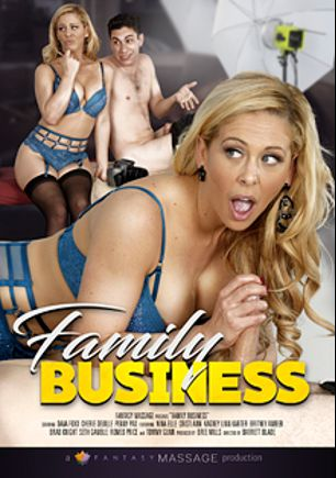 Family Business, starring Cherie DeVille, Cristi Ann, Brad Knight, Dava Foxx, Nina Elle, Penny Pax, Romeo Price, Seth Gamble, Kagney Linn Karter, Britney Amber and Tommy Gunn, produced by Fantasy Massage Production.