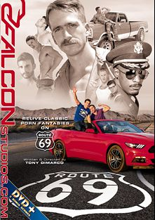 Route 69, starring Alex Mecum, Johnny V., Ryan Rose, Fane Roberts, Skyy Knox, Nate Stetson, Dustin Holloway, JJ Knight and Derek Maxum, produced by Falcon Studios Group and Falcon Studios.