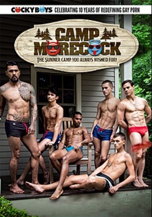 Camp Morecock, starring Sean Ford, Jacen Zhu, Josh Moore, Taylor Reign, Calvin Banks, Allen King, Boomer Banks, Colby Keller and Frankie V., produced by Cockyboys.