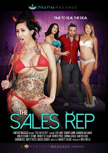The Sales Rep, starring Carmen Callaway, Lily Lane, Violet Starr, Marco Ducati, Karter Foxx, Sophia Grace, Damon Dice, T Stone, Romeo Price, Brett Rossi, Trinity St. Clair and Tommy Gunn, produced by Fantasy Massage Production and Nuru Massage.