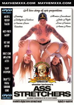 "Adult entertainment movie ""Ass Stretchers"" starring Julie Night, Catalina & Aurora Snow. Produced by Mayhem XXX."