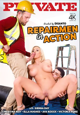 Repairmen In Action, starring Sienna Day, Aitor Lago, Mr. Longwood, Ava Koxxx, Ella Hughes, Victoria Pure, Marc Rose, Freddy Flavas and Christina Mayer, produced by Private Media.