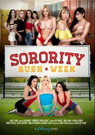 Sorority Rush Week, starring Emily Willis, Chloe Cherry, Darcie Dolce, Abella Danger, Serene Siren, Judy Jolie and Ivy Wolfe, produced by Girlsway.