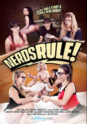 Nerds Rule, starring Judy Jolie, Ivy Wolfe, Lilly Ford, Whitney Wright, Jill Kassidy, Alison Rey, Aspen Romanoff, Kendra Spade and Chloe Cherry, produced by Girlsway.