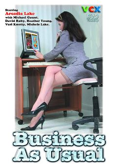 "Adult entertainment movie ""Business As Usual"" starring Arcadia Lake, Tricia Ascot & Marcia Minor. Produced by VCX Home Of The Classics."