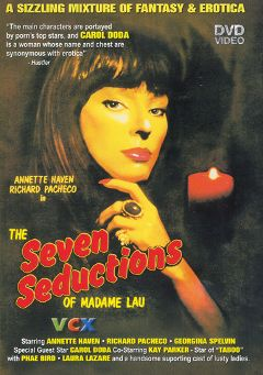 "Adult entertainment movie ""The Seven Seductions of Madame Lau"" starring Annette Haven, Doc Monroe & Allesandro Durossff. Produced by VCX Home Of The Classics."