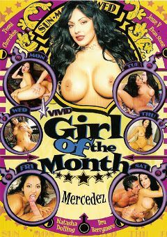 "Adult entertainment movie ""Girl Of The Month:  Mercedez"" starring Mercedez (I), Cherokee & Dru Berrymore. Produced by Vivid Entertainment."