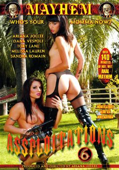 "Adult entertainment movie ""Assploitations 6"" starring Melissa Lauren, Sandra Romain & Ariana Jollee. Produced by Mayhem XXX."