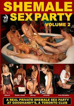 "Adult entertainment movie ""Shemale Sex Party 2"" starring Tasha Jones, Cassidy (o) & Ashley (o). Produced by Mayhem North Production."