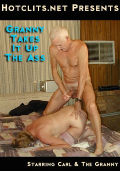 "Adult entertainment movie ""Granny Takes It Up The Ass"" starring Carl Hubay. Produced by Hot Clits Video."