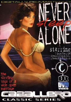 "Adult entertainment movie ""Never Sleep Alone"" starring Tina Marie, Wendy Stuart & Velvet Summers. Produced by Caballero Video."
