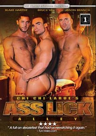 Ass Lick Alley, starring Nicholas Clay, Sam Carson, Austin Masters, Mat West, Billy Sax, Nick Moore, Kris Wolff, Blake Harper, Jason Branch, Troy Stevens, Scott Matthews, Paul Dawson, Michael  Vista, Bruce Hill, David Bradley, Zaire Masters and Tanner Hayes, produced by All Worlds Video and Channel 1 Releasing.