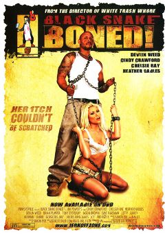 "Adult entertainment movie ""Black Snake Boned"" starring Cindy Crawford, Icy & O-Mar. Produced by Powersville Inc."
