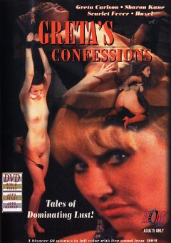 "Adult entertainment movie ""Greta's Confessions"" starring Hazel, Scarlett Fever & Greta Carlson. Produced by London Video/HOM."