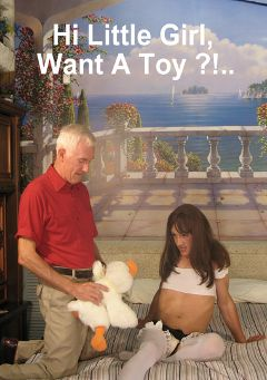 "Adult entertainment movie ""Hi Little Girl. Want A Toy"" starring Danni (o) & Carl Hubay. Produced by Hot Shemales Video."