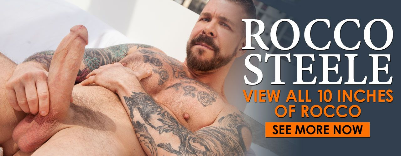 This blue-eyed bear sports sexy skin ink and a big, mouth-watering dick! Rocco Steele is a daddy who likes to top. Watch him now!