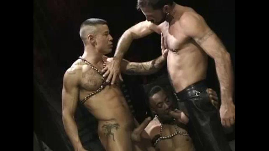 Crotchless Black Leather and Chains in the Dark Lower Zone, produced by Hot House Entertainment, Falcon Studios Group and Club Inferno. Video Categories: Black, Blowjob, Fetish, Interracial, Safe Sex, Muscles, Leather and Threeway.
