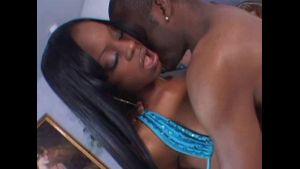 Slender Ebony Teen Beauty Filled with Big Dick.