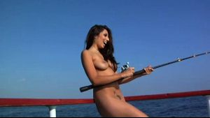 Naked Girls On A Boat And Fishing.