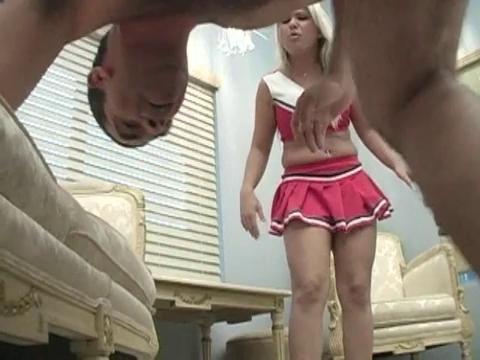 Blonde cheerleader blowjob