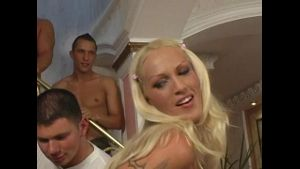 Blond Bitches in Gangbang with 8 Dudes.