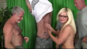 Amazing Deep Throat Blonde at the Gangbang.