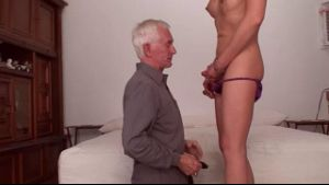 Old White Haired Perv Gets Right to Work on Asian Tranny.