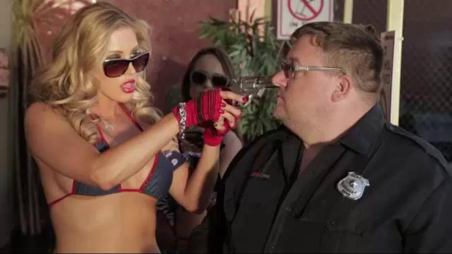 Bad Ass Robbery Gang Lesbians, starring Anastasia Morna, Samantha Saint and Jessa Rhodes, produced by Wicked Pictures. Video Categories: Adult Humor, Threeway, Blondes, Brunettes and Lesbian.