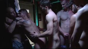 Jerking off each other before the gang bang.