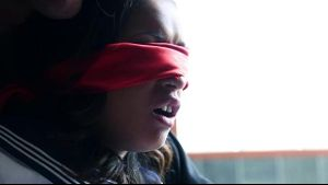 Skin Diamond is Blindfolded and Vibrated.