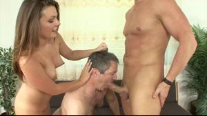 Cuckold Hubby Made To Suck Cock.