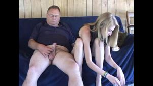 Blonde Teen Helps With Aching Ball Handjob.
