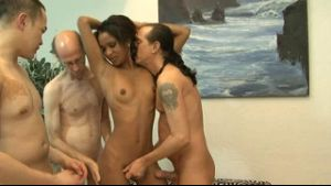 Beautiful Black Coed Banged by 3 Guys.