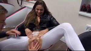 Oily lesbian pussy massage.