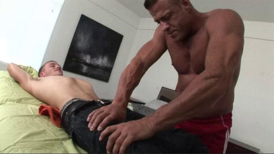 Go See The Pain  Doctor, starring Alex Andrews and Tyler Saint, produced by Driveshaft. Video Categories: Massage, Muscles and Safe Sex.