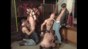 Leather Muscle Orgy Having Fun.