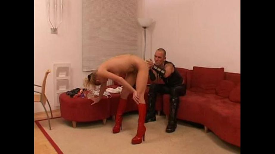 Naked Blonde in Red Patent Leather Boots, produced by MEGA-FILM. Video Categories: Fetish, BDSM and Small Tits.