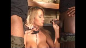 Over sexed blonde whore gets down on her knees.