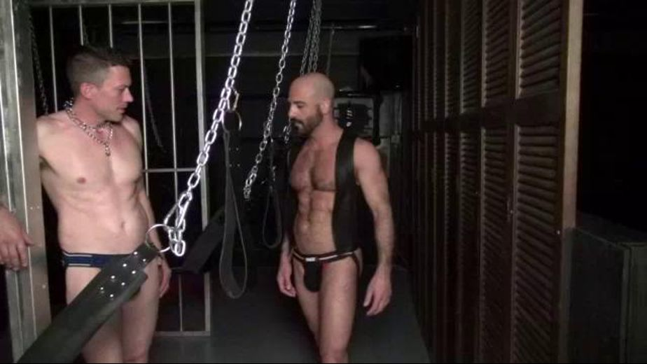 Chained, Choked, and Fed Cock, produced by Bareback RT. Video Categories: Leather, Fetish, Blowjob, Jocks, Muscles and Bareback.
