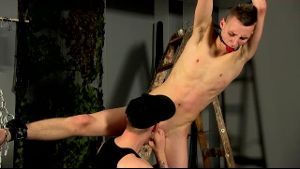 BDSM Euro Twink is Strung Up and Sucked.